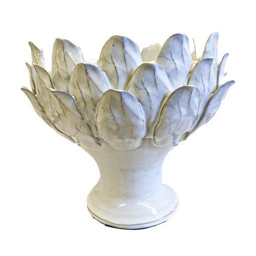 Vaso Ciotola Decorativo In Terracotta Bianca