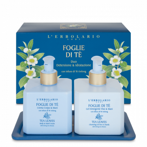Foglie di Tè Duo: Gel Detergente Viso & Mani 250 ml Crema Corpo & Mani 250 ml + vassoio