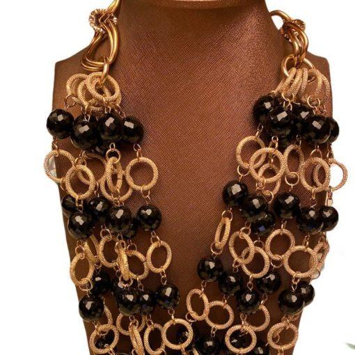 Collana Cristalli e Perle Nere