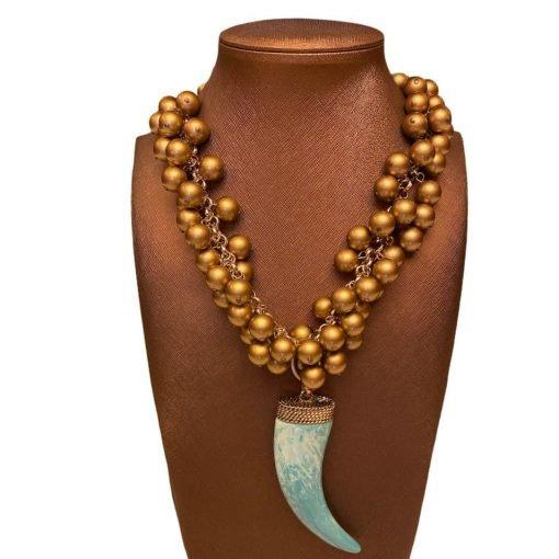 Collana Oro e Corno in Resina Azzurro