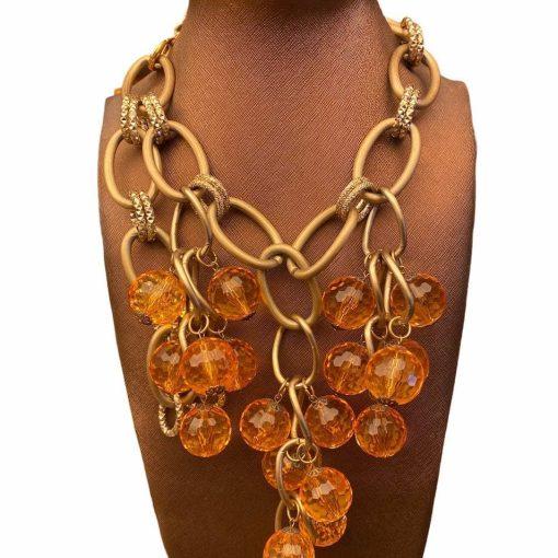 Collana Metallo e Pietre Arancione