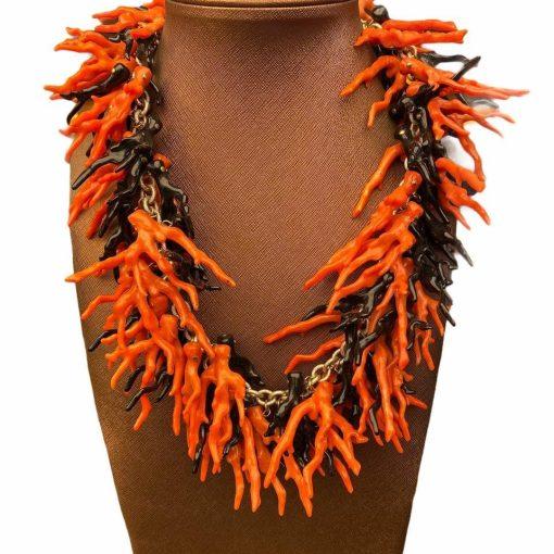 Collana Coralli Nero e Arancione